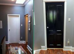 4 panel door before and after updated interior doors (and other diy door ideas) Painted Interior Doors, Diy Interior, Painted Doors, 4 Panel Doors, Front Doors, Door Paint Colors, Black Doors, Home Upgrades, Old Doors
