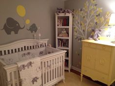 Yellow and grey nursery  I love the tree on the wall... could probably find stick ons like that!
