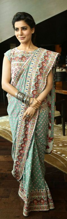 Pinterest @Revathy Bose || Six yard- The Saree ❤•。*゚|| samantha in Vrisa by Rahul N Shikha saree