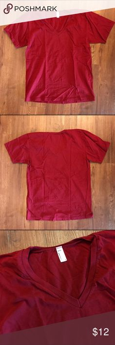 American Apparel Dark Red V-Neck Tee NWOT V-Neck Tee  Size M  💲OFFERS WELCOME💲 ❌NO Trades❌ American Apparel Tops Tees - Short Sleeve