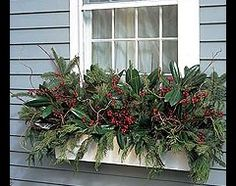 w Nov 25 winter window box. Winter Window Boxes, Christmas Window Boxes, Christmas Porch, Rustic Christmas, Christmas Wreaths, Christmas Holiday, Outdoor Christmas Planters, Outdoor Planters, Flower Planters