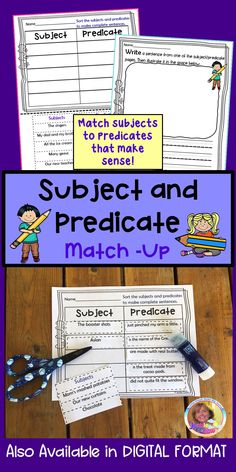 I marked this cut/paste resource as distance learning since the PDF pages are print and go: an easy to implement product. If you purchase you can open Easel to use this resource with the pages of your choosing digitally. Directions are already printed on the digital pages. #subjectsandpredicates #grade1 #grade2 #Jackiecrews #Englishlearners #sentences Teaching Resources, Grammar Activities, Teaching Phonics, Interactive Activities, Language Activities, Teaching Materials, Educational Activities, Teaching Ideas, Literacy Stations