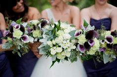 Purple, Green & White Bouquets|Photo by: taniskatie.com