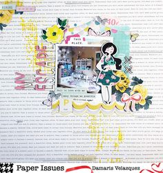 Scrapbooking, Layout, 12x12 Layout, Single Page Layout, Mixed Media, Scrapbook Page, Maggie Holmes, Paper Issues, Crate Paper, Bloom, Thickers, Stencil