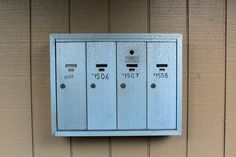 A mailboxes. The handwritten numbers make them special