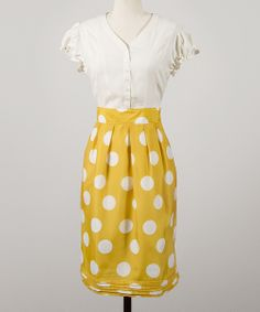 White & Yellow Polka Dot Go for Gold Dress