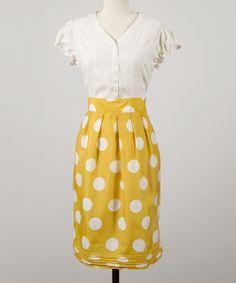 White & Yellow Polka Dot Go for Gold Dress