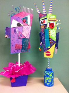Art Idea for kids: make busts out of recycled materials.