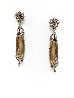 Diamond Swirl & Smoky Quartz Double Drop Earrings by Amrapali  I am finding it very clear I need to win the lottery!