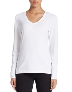 Women's | Tees & Knits | Stretch-Cotton V-Neck Tee | Hudson's Bay. cotton/ spandex. 25$