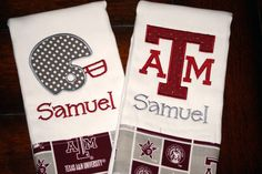 Embroidered Texas A Burp Cloth  Monogrammed and by ryanbird, $22.00