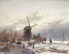 ♥A Frozen River Landscape With A Windmill, Andreas Schelfhout