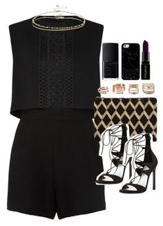 """""""Outfit with a playsuit for a night out"""" by ferned on Polyvore featuring Maje, Stuart Weitzman, ASOS, NARS Cosmetics, Forever 21, Casetify, Smashbox, women's clothing, women and female"""