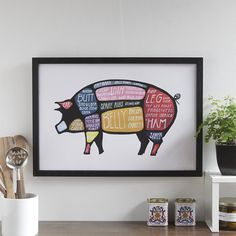 Set of Four Meat Butchery Diagrams Pig Cow Lamb by drywell