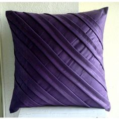 Contemporary Purple - Throw Pillow Covers - 16x16 Inches Suede Pillow Cover in Deep Purple