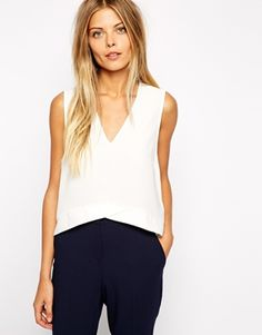 V-neck crepe top