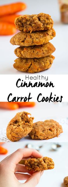 Quick and easy healthy Cinnamon Carrot Cookies. Moist, chewy and delicious. Sug… Quick and easy healthy Cinnamon Carrot Cookies. Moist, chewy and delicious. Sugar free, gluten free and with a vegan option. Carrot Cookies, Healthy Cookies, Healthy Sweets, Yummy Cookies, Healthy Baking, Cinnamon Cookies, Healthy Food, Oatmeal Cookies, Easy Healthy Snacks