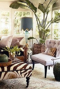 Interior by Windsor Smith. Love that large palm and shot of color, texture and pattern. All the windows!!
