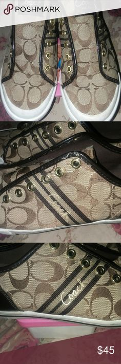 Coach sneakers These beautiful coach sneakers have been slightly worn but still in great condition Coach Shoes Sneakers