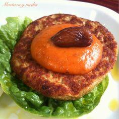 Mostaza y media: Hamburguesa de garbanzos con salsa dulce de tomate #receta #vegana
