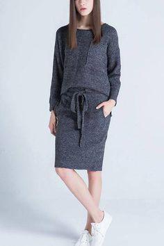 Side Split Knitted Top & Drastring Waist Knitted Skirt Co-ord - US$57.95 -YOINS