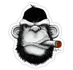 Cigar Monkey Sticker