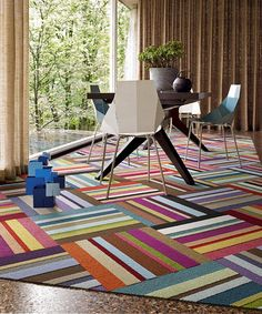 This Parallel Reality Patchwork gives your space an unmatched design aesthetic with stripes coming at you in all directions. And the harlequin-style tile layout brings an eye-full of depth to a large room or some Patterned Carpet, Grey Carpet, Modern Carpet, Neutral Carpet, Grey Flooring, Carpet Flooring, Hardwood Floors, Patchwork Rugs, Ideas