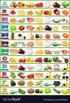 Table of vitamins - set of food icons organized .- Tabelle von Vitaminen – Satz Lebensmittelikonen organisierte Vektor-Bild – Table of vitamins – set of food icons organized vector image – icons -