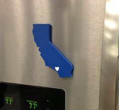 """Los Angeles Dodgers """"State Heart"""" magnet, handcrafted wood with official team colors,"""