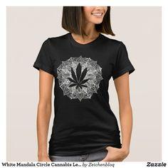 White Mandala Circle Cannabis Leaf T-Shirt