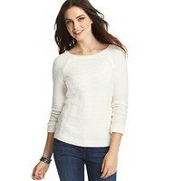 Textured Front Sweater - Starring a textured front for an upscale twist, we crafted this everyday cute essential with a hint of stretch – for a fabulously flattering fit. Scoop neck. Long raglan sleeves. Ribbed neckline, cuffs and hem.