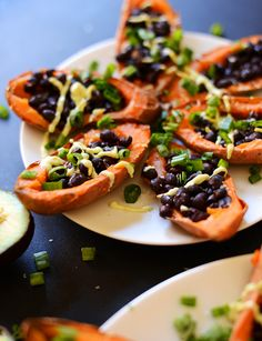 Easy Summer Recipes. Sweet potato boats could be made vegan.