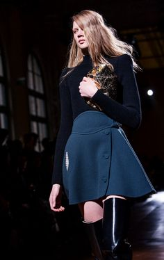 wonderful winter outfit with blue turtleneck and cobalt blue skirt + patent leather cuissardes - by Carven F/W 2014