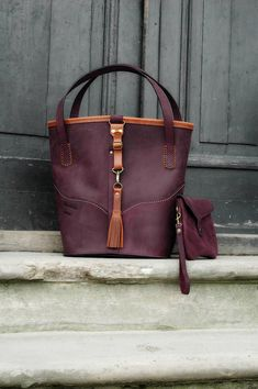 Handmade Leather hobo tote bag Vintage style  Julia design