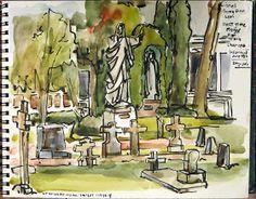 Urban Sketchers: Mission San Luis Rey Cemetery, Oceanside, California