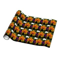 Orange Orchid Wrapping Paper