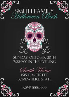 Printable Day Of The Dead Halloween Party Invitation Front And Back - Day of the dead party invitation template