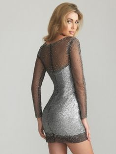 Latest Short Cocktail/Homecoming Gown With Matte Sequins and Long Sleeves