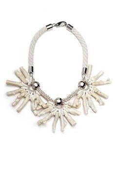 WHITE FROST white bohemian necklace. Oversized by YAYOIjewelry