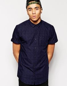 New Look Short Sleeve Shirt with Geo Spot Print