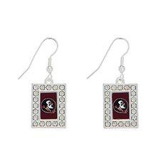 "Florida State Seminoles 1 1/2"" Silver State Earrings FSU Logo in a Rectangle Shape & Crystal Rhinestones Judson http://www.amazon.com/dp/B00LUAVQ0C/ref=cm_sw_r_pi_dp_iiheub04P52VW"