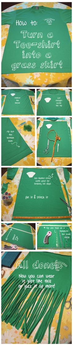 How to: Transform a T-shirt into a grass skirt - Hoco Shirts - ideas of Hoco Shirts - Tee shirt to Grass skirt tutorial (belly dance skirt/belt) Luau Costume, Hawaiian Costume, Hawaiian Party Outfit, Costume Shop, Costume Ideas, Luau Theme Party, Tiki Party, Fashion Art, Fashion Design