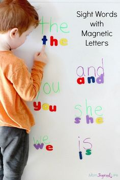 Spelling and reading sight words with a fun magnetic letter activity. Teach sight words with this hands-on approach.