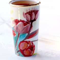 Double Wall Traveler - Painted Flowers, 10 fl oz