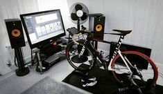 Riding a indoors is a little different than riding outdoors, but it can be really helpful in winter weather when you don't want to risk! Basement gym in your Home! Zwift Cycling, Indoor Cycling, Home Gym Basement, At Home Gym, Best Turbo, Indoor Bike Trainer, Bike Room, Home Gym Design, Garage Gym