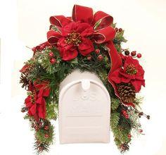 Poinsettia Holiday Mailbox Swag