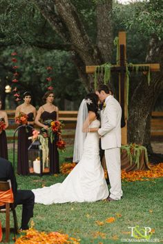 Outdoor, romantic, Fall wedding ceremony.  ~Uptown Weddings & Events, LLC. (Event Planning and Design Services)~ Arteflora (Florals)~ Thomas and Penelope (Photography)