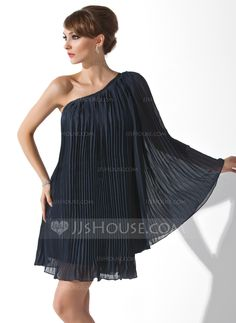 A-Line/Princess One-Shoulder Short/Mini Chiffon Cocktail Dress With Pleated (016008463) - JJsHouse