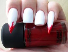 Stiletto nails with white and blodred polish (MAC) by Viki at kezelese.hu - Creepy and fun Halloween look for the fashionistas and beauty lovers.  #halloween #MAC