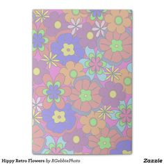 Hippy Retro Flowers Post-it® Notes - $10.71 - Hippy Retro Flowers Post-it Notes - by #RGebbiePhoto @ #zazzle - #Flowers #Hippy #Retro - Colorful retro style flowers, hippy style in bright colors! Large petal flowers in a jumbled assortment. 70s Hippy look, great throwback item! Groovy!
